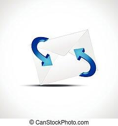 strzała, wektor, symbol, email