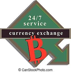 strzała, wskazówka, bitcoin, służba, zamiana