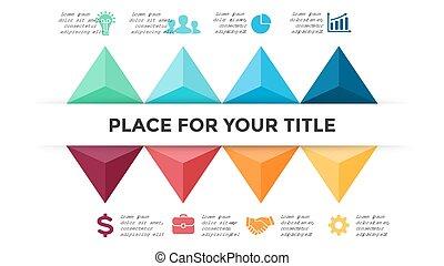 strzały, pojęcie, processes., handlowy, infographic, timeline, opcje, graph., slide., diagram, strony, wykres, wektor, 8, gotowy, kroki, prezentacja, triangle