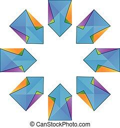 strzały, wektor, fractal, logo