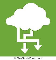 strzały, zielony, chmura, ikona