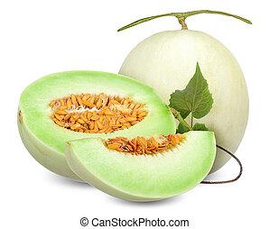 strzyżenie, honeydew, odizolowany, melon, ścieżka, biały