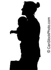 strzyżenie, kobieta, sylwetka, handlowy, niemowlę, ścieżka