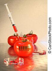 strzykawka, pomidor, szczelnie-do góry