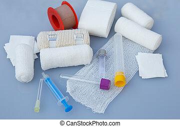 strzykawki, albo, plaster, apteka, healthcare, bandaże, tematy, medyczny, medyczny