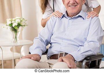 stting, 上, a, 輪椅