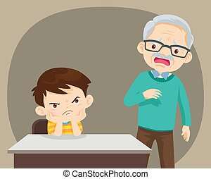 Angry child sitting with elderly have look worry