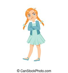 Stubborn Girl Teenage Bully Demonstrating Mischievous Uncontrollable Delinquent Behavior Cartoon Illustration