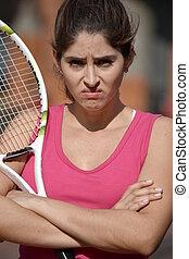Stubborn Girl Tennis Player Wearing Sportswear