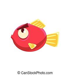Stubborn Red Fantastic Aquarium Tropical Fish With Eyebrows Cartoon Character