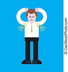 stubs., illustrazione, stink., sweat., vettore, maleodorante, nose., chiudere, tipo, odore, armpit., uomo