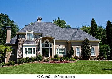stucco, e, casa pietra, su, verde, erboso, collina