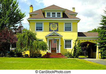 Photo of a Stucco Home. I Think It is A French Style Home.