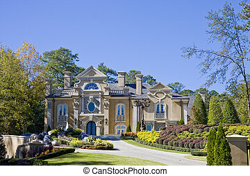 Stucco Mansion in Fall