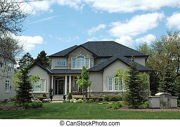 stucco, &, pietra, housestucco, &, casa pietra