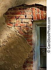 stucco, sopra, mattone, 2