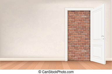 stucco wall and open door with brick