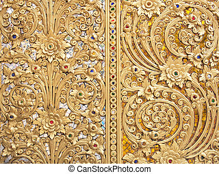 Stucco walls antique flower Thailand