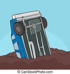 Stuck Car in Mud - Cartoon of single car stuck in pile of...