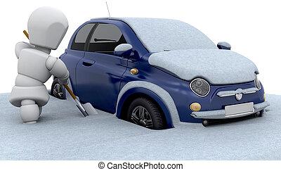 stuck, in, sneeuw