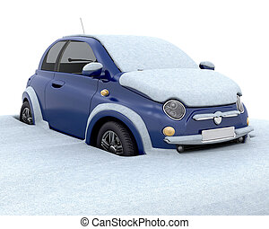 Stuck in the snow - Car stuck in deep snow