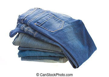 stuck of blue jeans isolated on white background