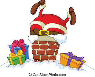 Stuck Santa - Santa Claus stuck in a chimney