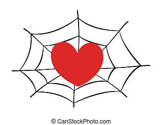 stucked, coração, teia aranha