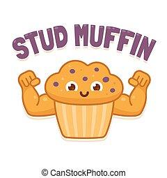 Stud Muffin illsutration - Stud Muffin, funny illsutration....