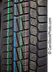 Studded tire on a background close-up