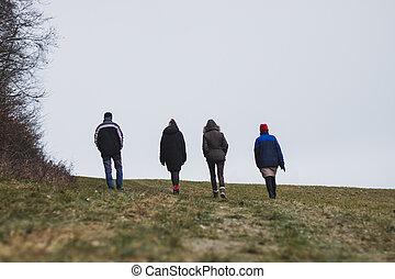 studený větrat, národ, stěna, skupina, chodit, venkov, skrz