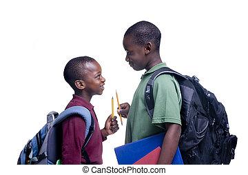 studenci, amerykanka, afrykanin