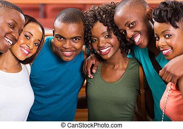 studenci, amerykanka, grupa, młody, afrykanin
