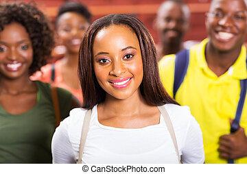 studenci, amerykanka, kolegium, afrykanin