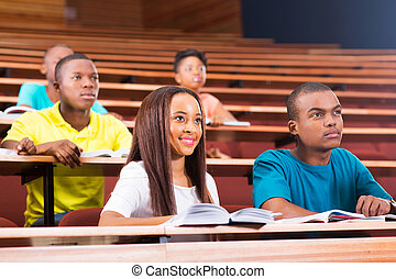 studenci, amerykanka, kolegium, młody, afrykanin
