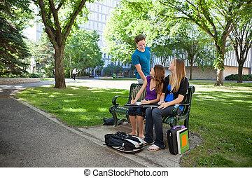studenci, badając, campus