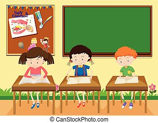 studenci, badając, klasa
