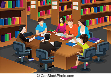 studenci, badając, kolegium, biblioteka