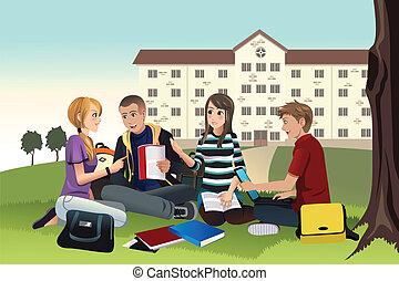 studenci, badając, na wolnym powietrzu, kolegium