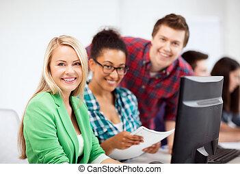 studenci, badając, szkoła, komputer