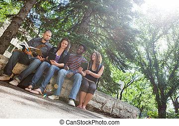 studenci, badając, uniwersytecki obręb szkoły, balustrada