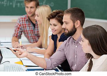 studenci, badając, uniwersytet, razem