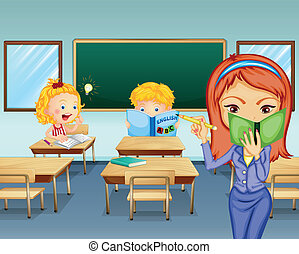studenci, badając, wnętrze, klasa