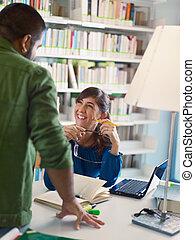 studenci, biblioteka