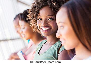 studenci, closeup, uniwersytet, grupa, afrykanin