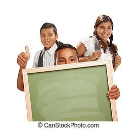 studenci, do góry, kreda, kciuki, dzierżawa, czysty, biała deska