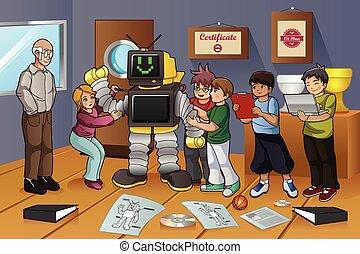 studenci, eksperyment, robot, pracujący