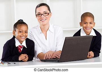 studenci, główny, nauczyciel