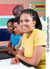 studenci, grupa, afrykanin