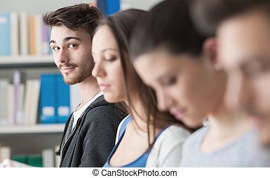 studenci, grupa, biblioteka
